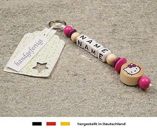 NAMENSANHÄNGER - Anhänger mit Namen - Baby Kinder Schlüsselanhänger für Wickeltasche, Kindergartentasche, Schultasche oder Rucksack mit Schlüsselring - Mädchen Motiv Hello Kitty in natur, pink