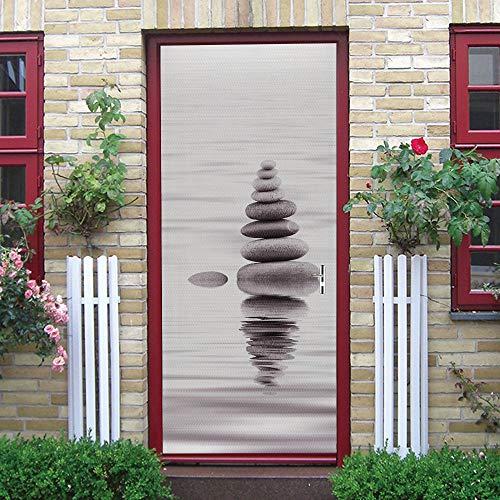 Pegatinas de puerta papel tapiz mural autoadhesivo, pegatinas de pared de puerta extraíbles, PVC impermeable, decoración del hogar, Piedras en el lago
