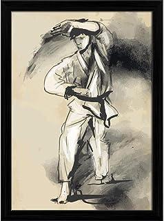 ArtzFolio Martial Arts Karate Tabletop Painting Black Frame 6 X 7.9Inch