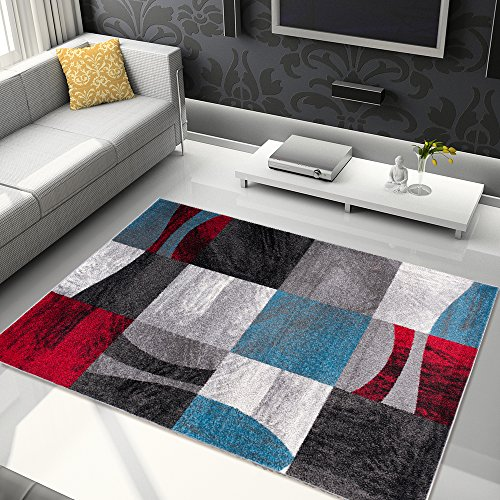 Tapiso Jawa Alfombra Salón Comedor Dormitorio Diseño Moderno Negro Rojo Azul Abstracto Pelo Denso Frise 120 x 170 cm