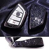 Royalfox(TM) Luxus 3 4 Tasten 3D Bling Smart Keyless Entry Remote Blade Schlüsselhülle Cover für BMW 1 2 3 5 7 M Serie, BMW X1 X3 X4 X5 X6, mit Schlüsselanhänger, schwarz