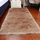 Faux Fur Sheepskin Area Rug, Baby Bedroom Rugs Fluffy Rug Home Decorative Shaggy Rectangle Carpet, 2x3 Feet, Cameo Brown