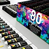 Zenacolor - Set de Pinturas Acrilicas - Pack de 80 tubos de pintura de 12ml, 80 Colores, Pinturas Acrílicas para Lienzos, Maderas, Ocio Creativo tanto para Adultos y Niños