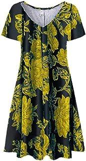 Women Summer Short Sleeve Mini Dress, Ladies Floral Printed Pockets Sundress Casual Short Dress