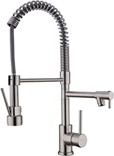 Kitchen Faucet Brushed Nickel,Single Handle Solid Brass Kitchen Faucets with Pull Down Sprayer
