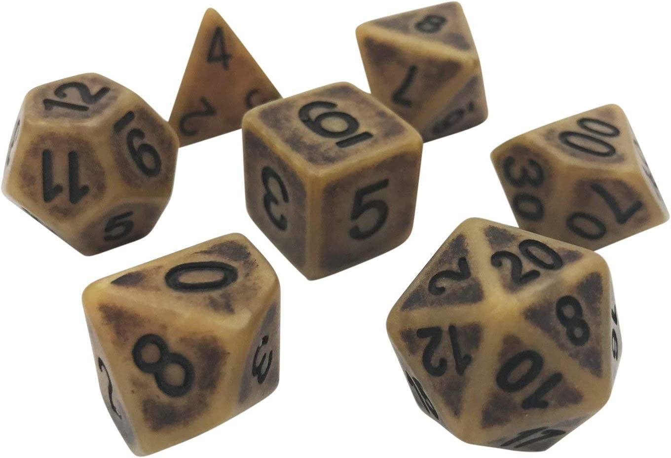 Ancient Worlds 7 Piece Polyhedral DND Dice Set by D20 Collective Dice for Table Top Dungeons and Dragons RPGs and Gaming