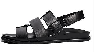 (TM Fashionista European Men's Leather Flats Sandals Handiness Skidproof Summer Shoes (US 8.5, Black)