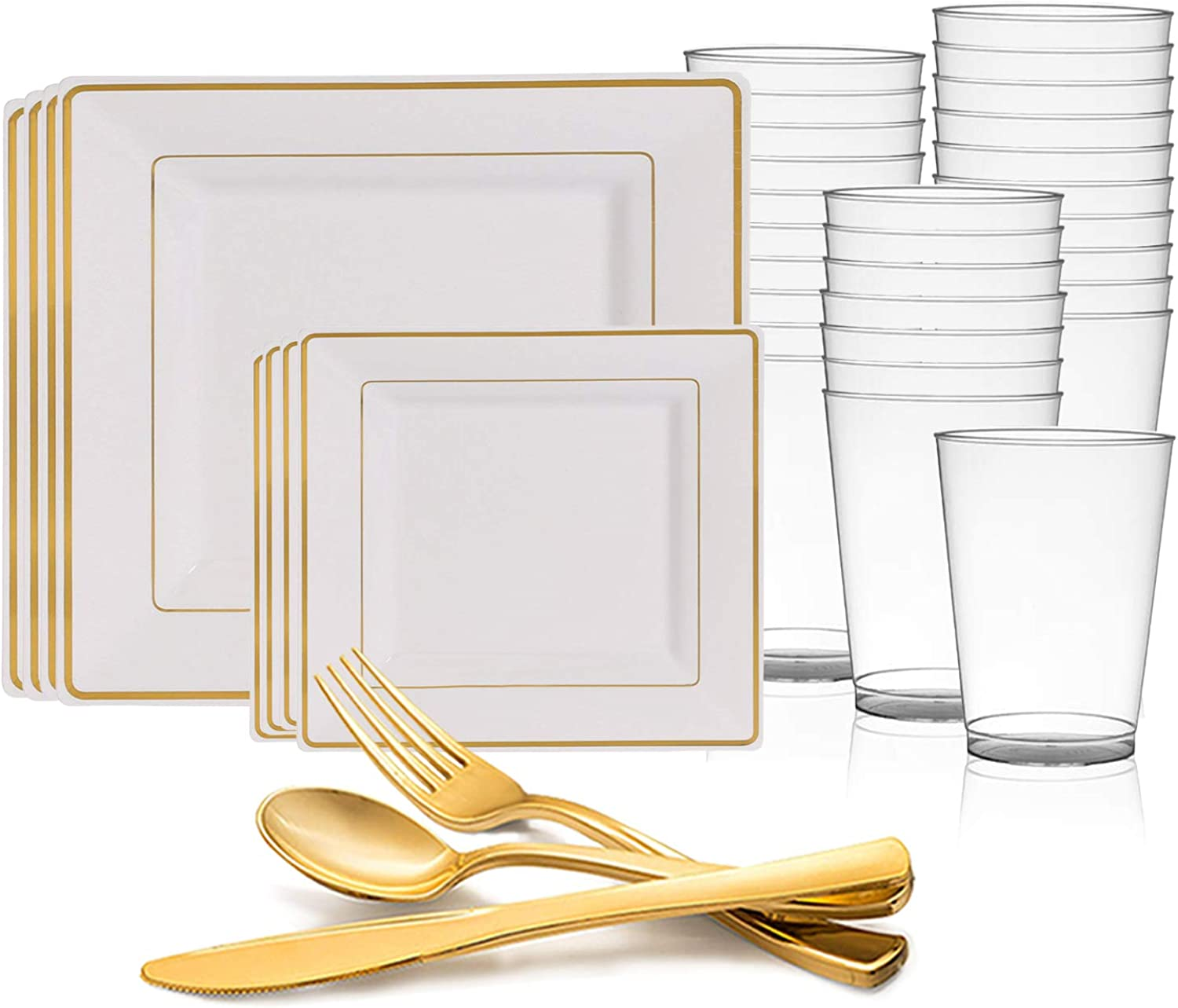 Disposable Plastic Dinnerware Set for 60 Guests - Includes Fancy Square White & gold Dinner Plates, Dessert Salad Plates, Silverware Set Cutlery & Cups For Wedding, Birthday Party & Other Occasions
