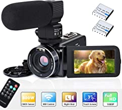 "Video Camera Camcorder WiFi IR Night Vision FHD 1080P 30FPS 26MP YouTube Vlogging Camera Recorder 3"" Touch Screen 16X Digi..."