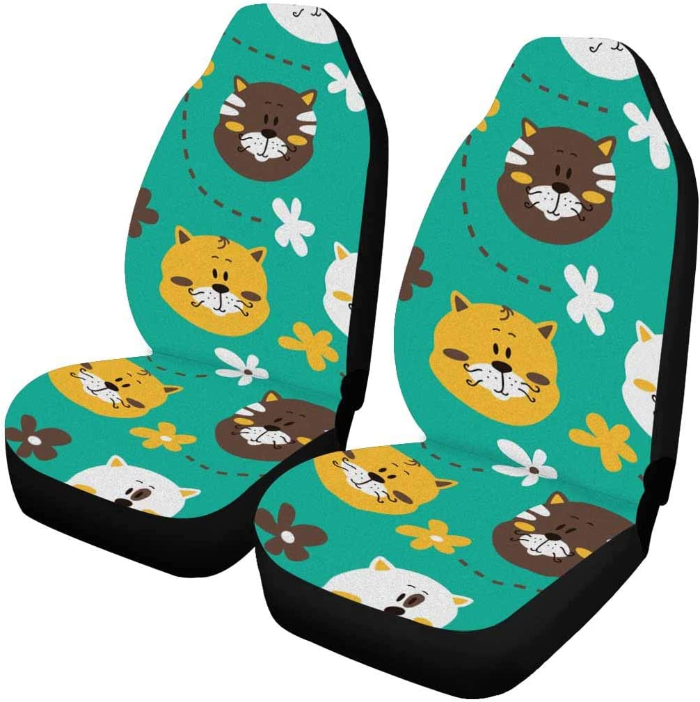 INTERESTPRINT Cute Kitty Cats and Flowers Auto Philadelphia Mall Covers Seat pc quality assurance 2