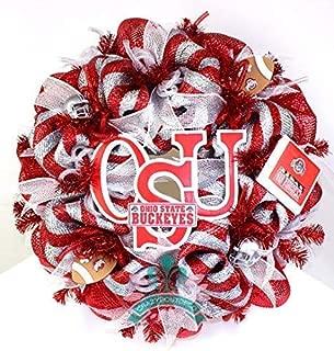 The Ohio State Buckeye College Football Fan Deco Mesh Door Wreath