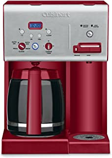 Cuisinart CHW-12R 12-Cup Programmable Coffeemaker Plus Hot Water System Coffee Maker, Brushed Metal/Red (Renewed)