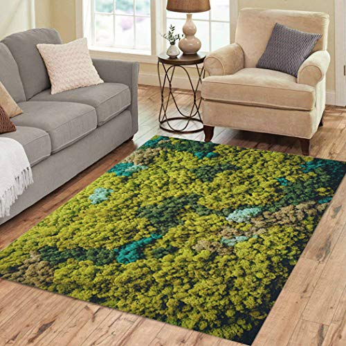 Xrknvf Area Rug Reindeer Wall of Green Moss Background Soft Not Easy to Slide Suitable for Living Room Bedroom Children Room Decoration 2'x3'