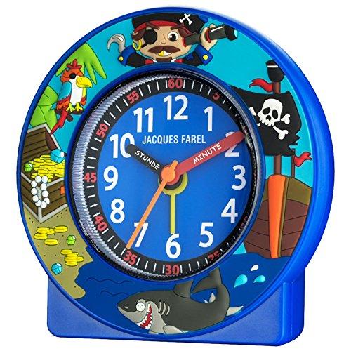 JACQUES KLEL ACN6666-G Piraten klok jongen kinderwekker wekker kunststof analoog alarm blauw stille seconde