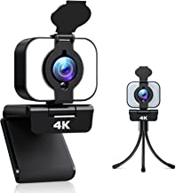 2021 4K Webcam with light, Welcam 3 Adjustable Brightness Ring Light Webcam with Microphone, Ultra HD USB Web Camera with ...