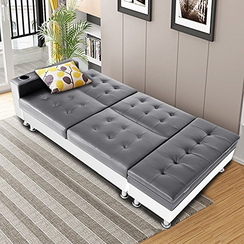 Bon Multifunctional Faux Leather Sofa include Storage Box Ottoman Recliner Sofa Bed with Cup Holder (Grey/Off White)