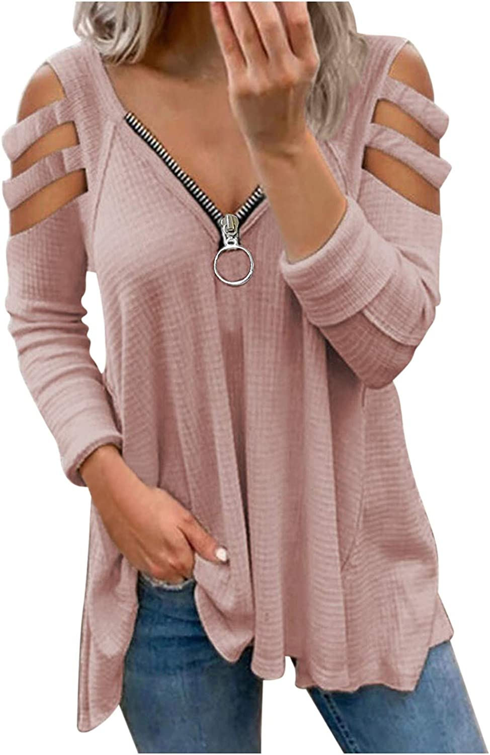 Women's Off The Shoulder Tops Plus Size Fashion Loose Fit Zip Up Hollow Lace T Shirts 3/4 Sleeve Blouses Printing Tunic