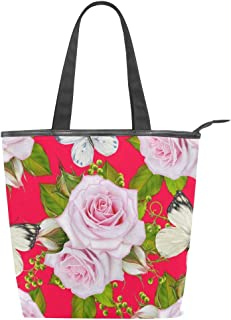 Mnsruu Große Handtasche aus Segeltuch Strandtasche, Reisetasche, Einkaufstasche, Schultertasche mit Schmetterling-Rose, Blumen, Sommerurlaub, Reißverschluss