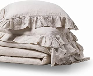 meadow park Stone Washed Linen Duvet Cover Set 3 Pieces, King Size 104 inches x 94 inches, Shams 20 inches x 36 inches, Ruffled Style, Button Closure, Corner Ties, Super Soft, Solid Natural Color