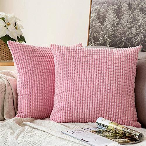WBXZAL 2er Set Kissen,Sofakissen Kissen, Für Autos Wohnzimmer Schlafzimmer, sofakissen Cord,kissenbezüge,couchkissen,dekokissen, sofakissen mit füllung und bezug-Pink_50X50cm