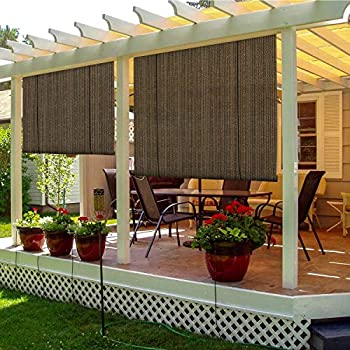 TANG Sunshades Depot Exterior Roller Shade Roll up Shade for Patio Deck Porch Pergola Balcony Backyard Patio or Other Outdoor Spaces Blinds Light Filtering Block 90% UV Rays 7' W x 6' L Brown
