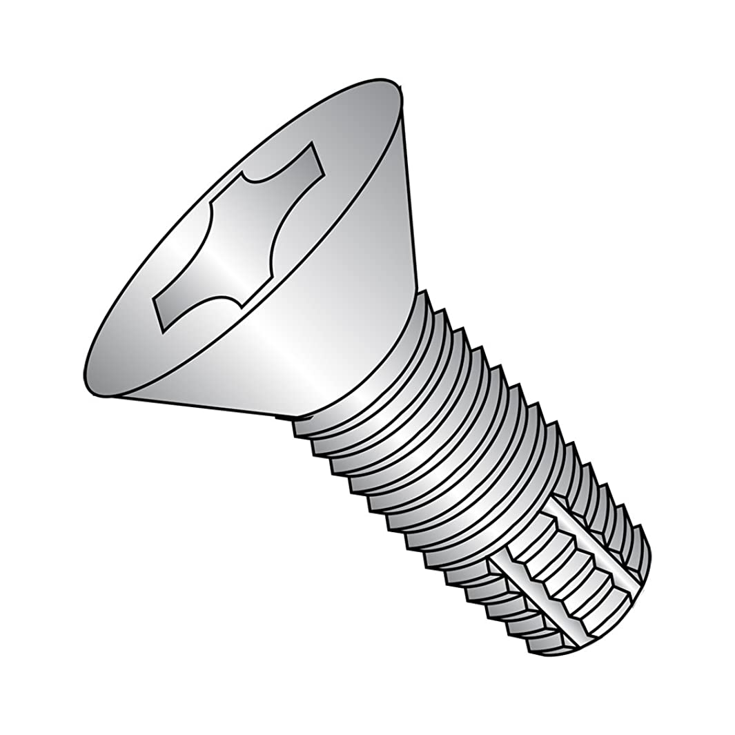 18-8 Stainless Steel Thread Cutting Screw, Plain Finish, 82 Degree Flat Head, Phillips Drive, Type F, 1/4