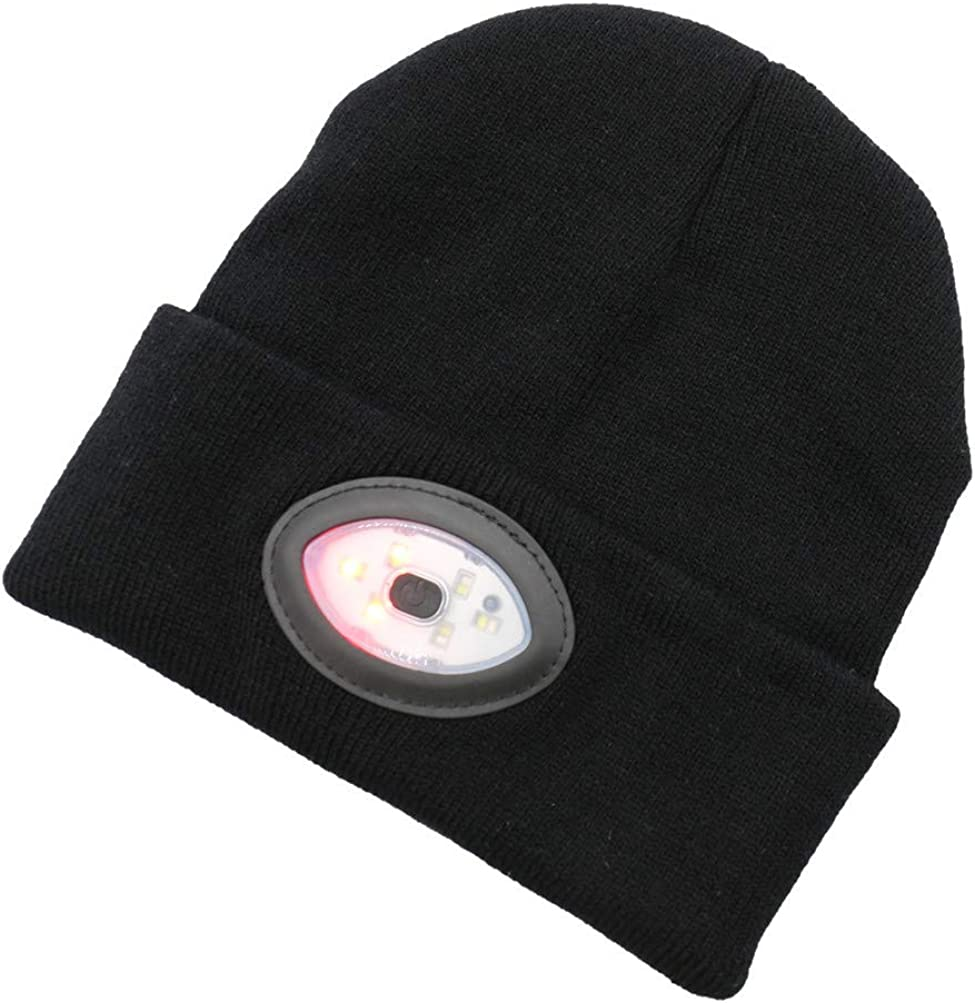 Permotary Rechargeable Led Beanie Hat Unisex Knit Hand Free Headlamp Cap