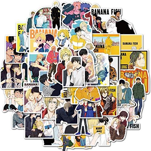 SHUYE Máquina de Matar temblorosa de Anime japonés, Maleta de pez plátano, Cuaderno DIY, Funda para teléfono móvil, Pegatinas Impermeables, 50 Hojas