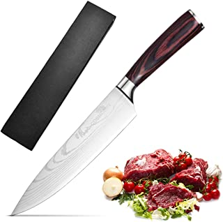 COSMOERY Kochmesser Küchenmesser Chefmesser Allzweckmesser Fleischmesser aus hochwertigem Carbon Edelstahl - 20 cm 8 inch