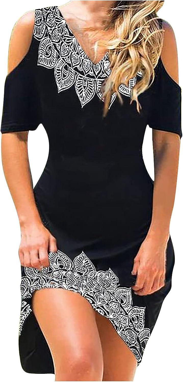 SERYU Women Summer Dresses Sundress Casual Sleeveless O-Neck T-Shirts Dress Boho Print Mini Beach Jumper Skirt