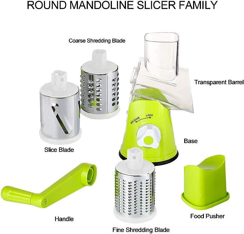 Stand Up Mandolin Slicer Sturdy Construction Solid Base Razor Sharp Blades And Modern Green Body