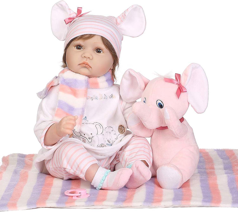 Kimruida éléphant Rose De Bébé De Poupée De Vinyle De Silicium De 55cm Réaliste Bébé Joue La Petite Enfance