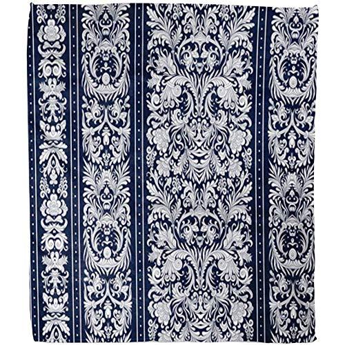 Deken bloem A strepen op barok, floreale Damascato wit donkerblauw schaduwbaar zacht pluzzy deken sofa hotel warme deken deken deken deken fleece kantoor 102 x 127 cm