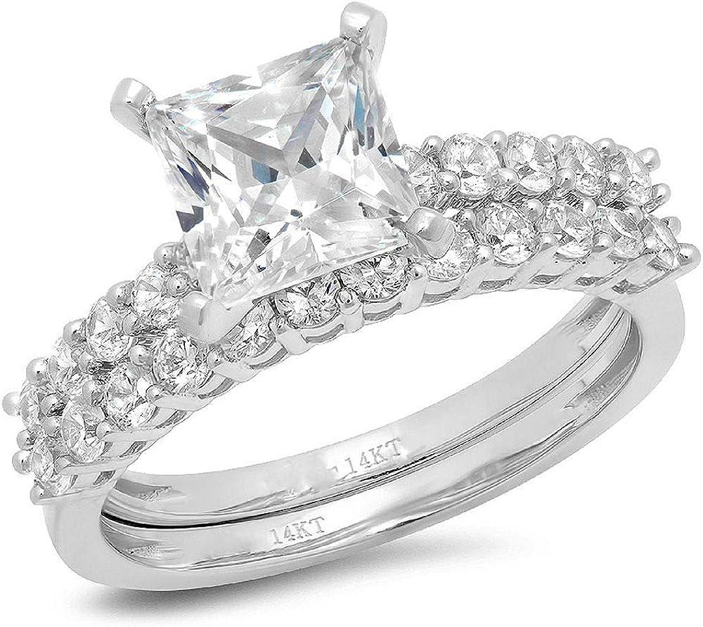 Clara Pucci 2.56ct Princess Cut Halo Bridal Engagement Wedding Ring Band Set 14k White Gold
