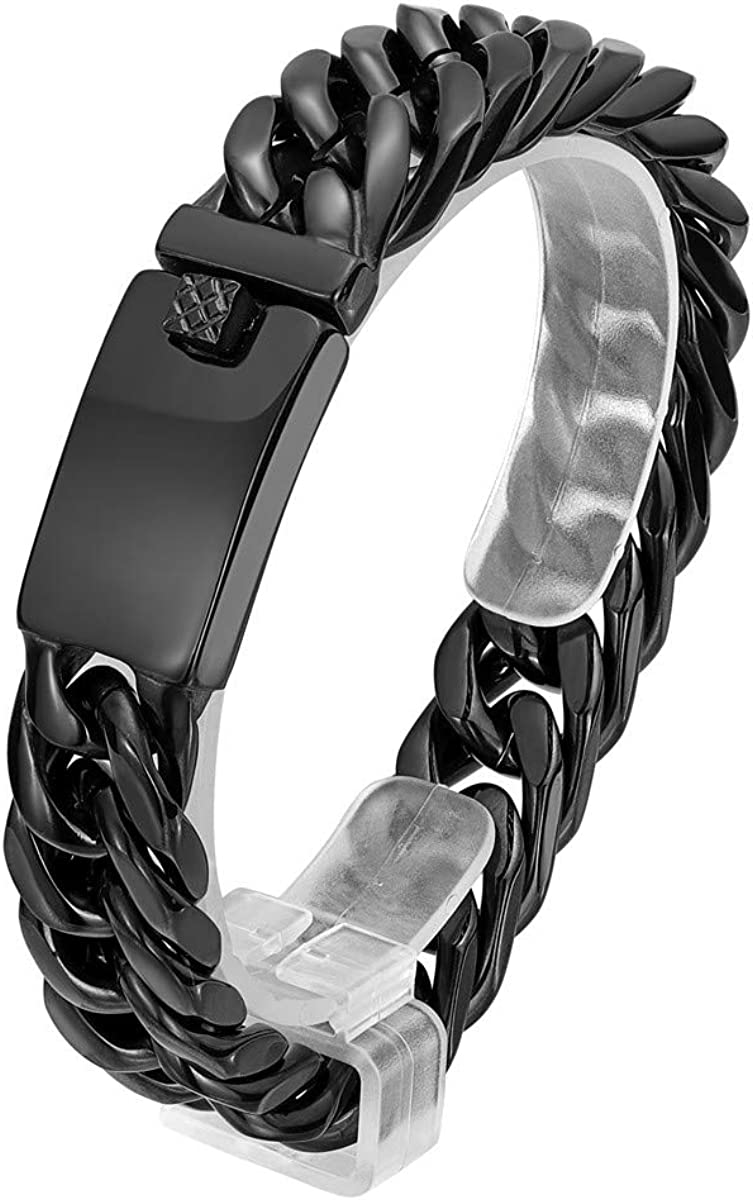 ROWINCO Heavy Men's Special price for a limited time Gorgeous 16MM Stainless Steel Bracelets Cuban Link H