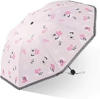 Light Parasol 100 * 66cm Vinyl Folding Lace Edging Sunny and Rain Dual-use Sun Umbrella Female Portable (Color : Pink)