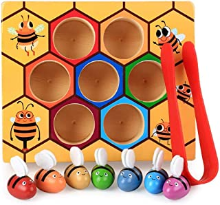 DalosDream Wooden Bee Toddler Fine Motor Skill Toy - Clamp Bee to Hive Matching Game - Montessori Wooden Color Sorting Puz...