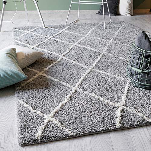 Luxor Living Webteppich Pula modernes Design robust strapazierfähig Fußbodenheizung geeignet-80 x 150 cm in Silber-weiß