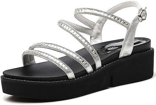 FEI Sandales Sandales Femme étudiant été Sandales Plates Mode Décontracté Chaussures de Fille Antidérapant (Couleur   argent, Taille   EU38 UK5.5 CN38)