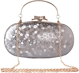 Women Fashion Water Cube Leather Evening Bag Ladies Clutch Bag Simple Leather Oval Hard Box Chain Handbag