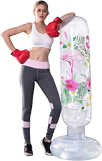 MrsharkFit Inflatable Punching Bag Free Stand, Heavy Training Bag, Adults Teenage Fitness Sport Stress Relief Boxing Targe...