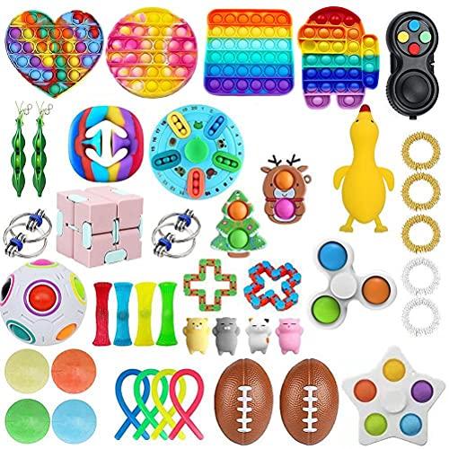 BST-MAI Fidget Toy Packs, 43 Pz Set di Giocattoli Sensoriali, Set di Giocattoli Calmanti Economici Fidget Pack con Simple Dimple Pop Bubble Infinite Cube Sfera Antistress, Giocattolo Antistress