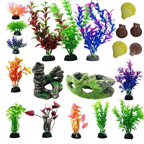 Cayway 20 Stück Aquarium Künstliche Wasserpflanzen Steingarten Aquarium Dekoration Holzdekor Natürliche Schale für Aquarien, Fische Tank Plastikpflanzen für Aquarien