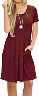 AUSELILY Women's Short Sleeve Pleated Loose Swing Casual Dress with Pockets Knee Length (XS, 01A-Wine Red)