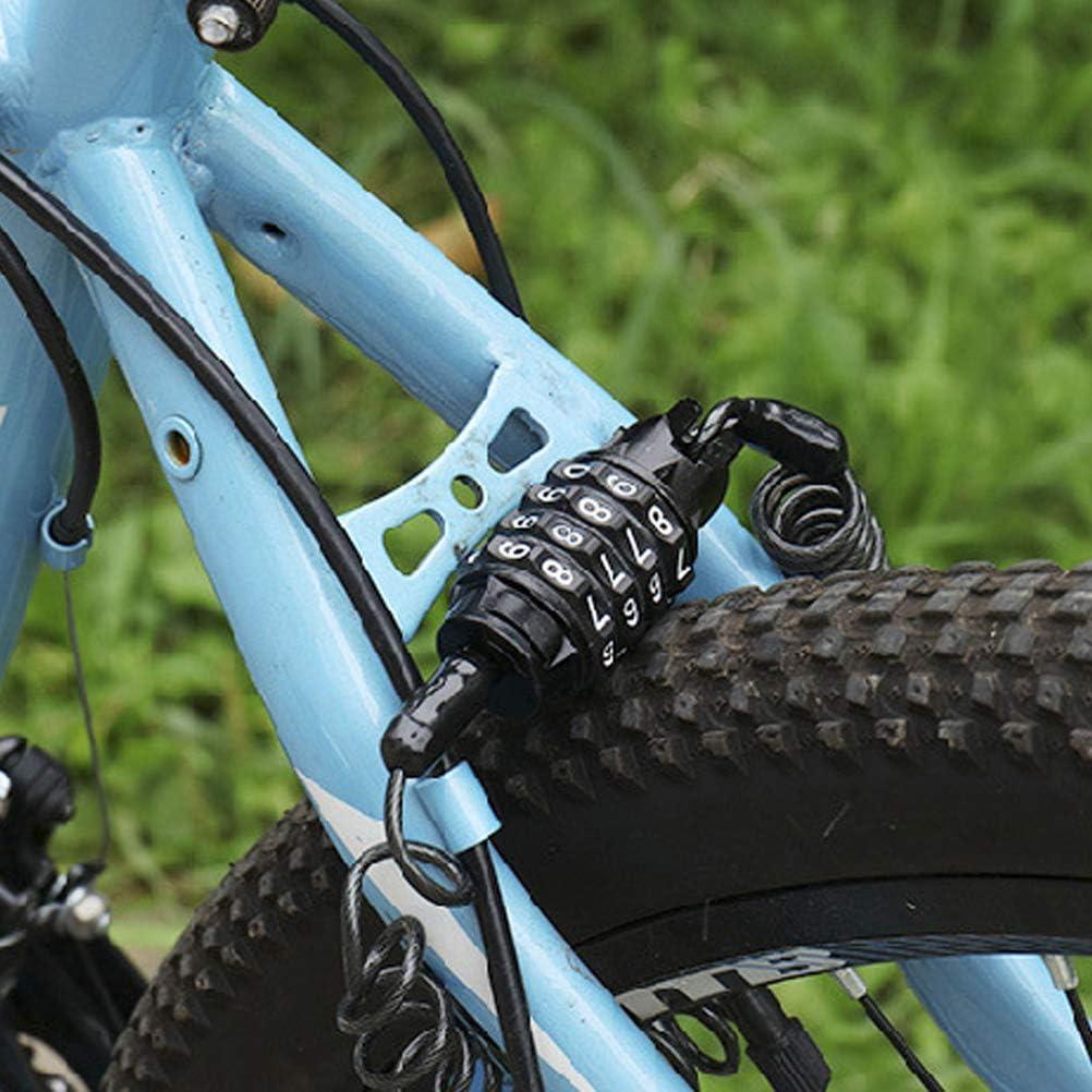 A Candado de 4 d/ígitos con contrase/ña port/átil antirrobo para casco de bicicleta para scooter bicicleta con resorte de cable moto