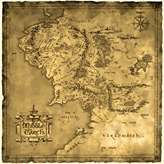 Ruimeng Vintage Cotton Lord of the Ring Middle Earth Map Canvas Decorative Painting (27.6