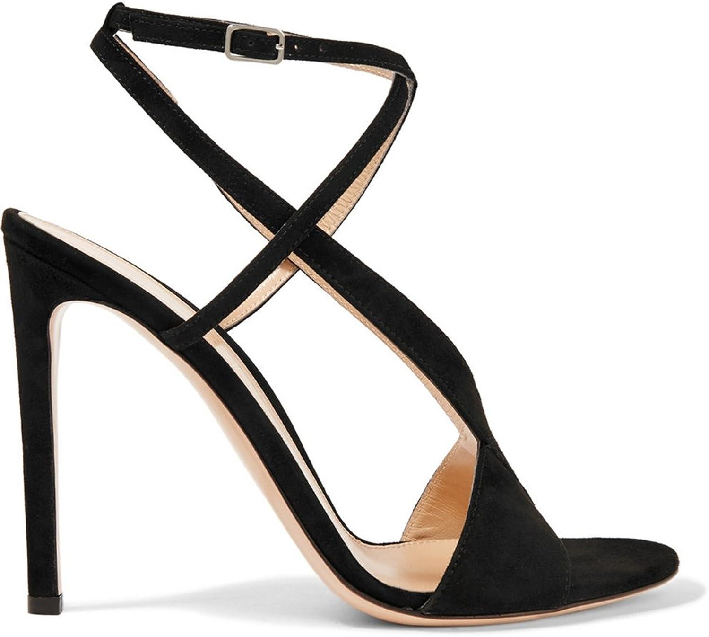 TDA Women's Sexy Cross Strap Suede Stiletto Sandals