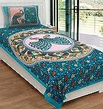 RajasthaniKart® Comfort Rajasthani Jaipuri Traditional Sanganeri Print 144 TC 100% Cotton Single Bedsheet