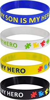Son/Daughter Hero Autism Support Silicone Bracelet Wristbands (4Pack)
