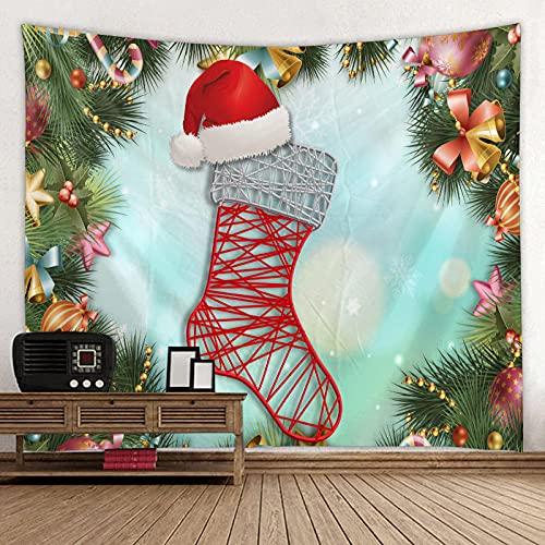 Obrand Tapiz Tapiz de Pared Tapices de Pared,Feliz Navidad Árbol de Navidad Sombrero de Papá Noel Campanas Rojo Cabecero de la casa Dormitorio Sala de Estar Dormitorio Festival Decoración Tapiz